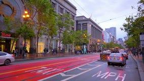 Market Street in San Francisco Downtown - SAN FRANCISCO / CALIFORNIA - APRIL 18, 2017 stock video