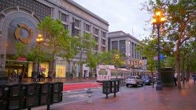 Market Street in San Francisco Downtown - SAN FRANCISCO / CALIFORNIA - APRIL 18, 2017 stock footage