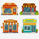 Market, Street shop, small store front. Market, street shop, cafe building facade set, small store front, shopping design detailed illustration. Vector stock illustration