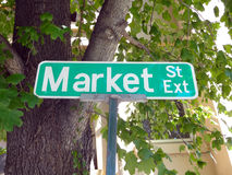 Market Street Sign. Green Market Street Sign with trees in the background stock images