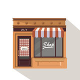 Market street store building facade small shop front shopping design detailed illustration Vector Stock Image