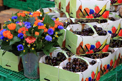 Market, Switzerland. Flowers and berries at the market, Switzerland Royalty Free Stock Photo