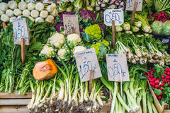 Market in Syracuse. Stall with vegetables on market place of Ortygia isle, Syracuse city, Sicily Island in Italy Royalty Free Stock Image