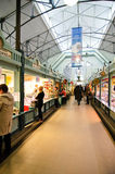 Market in Tampere Finland. Wanha Kauppahalli in the Easter Eve- Central market in Tampere where you can buy meat, vegetables, fruits, fish, spices, milk and Royalty Free Stock Image