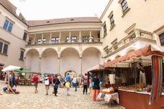 Market at Telc Castle, Czech Republic stock photography