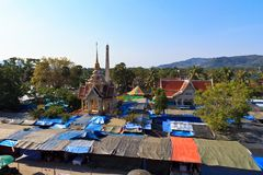 Market at the temple Wat Chalong in Phuket Royalty Free Stock Photography