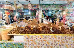On market in Tiznit. Morocco. Tiznit. Morocco - December 27, 2016: On local market in Tiznit. Moroccan people buy different products royalty free stock photo