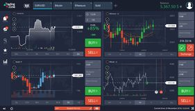 Market Trade, Binary option, Trading platform screen stock illustration