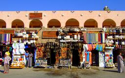 Market traders in Egypt against a bright blue clear sky stock photos