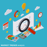 Market trends analysis, financial statistics, business report vector concept. Market trends analysis, financial statistics, business report flat isometric vector Stock Photos