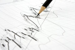 Market trends and pencil Stock Photo