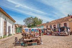 Market in Trinidad, Cuba. Trinidad, Cuba -March 8, 2016: Souvenir market  on a cobblestone street in Trinidad, Cuba Stock Image