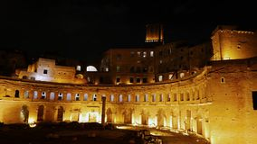Market Trojan at night, Rome, Italy stock footage