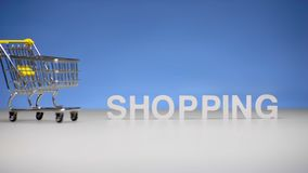 Market trolley on background word shopping. Shopping on sale in store. Market trolley on background word shopping from letter. Shopping on sale and discounts in stock footage