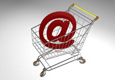 Market trolley with a big @ stock illustration