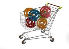 Market trolleyen med en grupp av @ bokstäver Arkivfoton