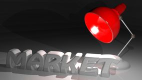 Market under the light. MARKET in white letters on a white desk, under a red desktop-lamp Stock Images