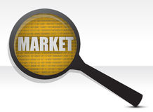 Market under a magnifier. Illustration design over a white background Stock Image