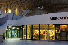 Market under the Parasol structure. SEVILLE, SPAIN, October 24, 2015 : Metropol Parasol is a wooden structure designed by the German architect Mayer-Hermann and Stock Photography