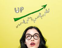 Market up trend chart with young woman royalty free stock photos