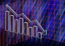 Market value decreasing. 3D columns and numeric illustration of market value going down Stock Photo