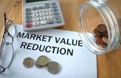 Market Value Reduction. With coins on paper and in pot and calculator behind Royalty Free Stock Image