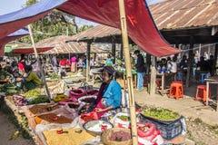 Market vendor. A market vendor at a market at the bank of the famous lake Inle, Myanmar Stock Photography