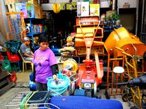 Market vendor selling different machinery in quiapo in the philippines Royalty Free Stock Photo