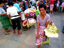 Market vendor selling flowers in quiapo in the philippines Stock Photography