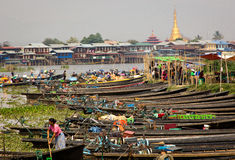 Market on a village of Inle Lake, Burma (Myanmar). Almost each day of the week, a different Burmese village on Inle Lake hosts the market. On that day hundreds royalty free stock photo