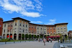 Market in Vittorio Emanuelle square. Pisa center & x28;Italy& x29 Royalty Free Stock Image