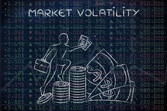 Market volatility: performance results with trader climbing prof Royalty Free Stock Photography