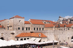 Market in the Walled City of Dubrovnic in Croatia Europe. Dubrovnik is nicknamed `Pearl of the Adriatic. Dubrovnik is one of the most beautiful towns in the Royalty Free Stock Photography