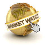 Market watch symbol with golden globe and hand Royalty Free Stock Photo