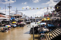 The market on the water. Amphawa, people sell their wares from the boat Stock Image