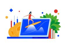 Market wave. Surfing on the financial waves. vector illustration