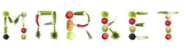 Market word made of vegetables Stock Photo
