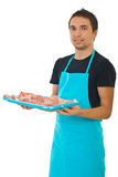 Market worker holding raw meat Royalty Free Stock Photo