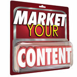 Market Your Content Product Package Selling Information. Market Your Content 3d Word in package to illustrate selling your information as a product or service to Stock Photo