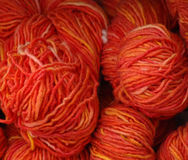 Market4. Handmade, hand dyed wool yarn for sale at farmer's market Stock Photography