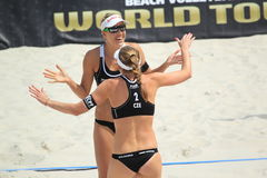 Marketa Slukova and Kristyna Kolocova - beach volleyball Royalty Free Stock Photos