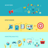 Marketers banners set. Marketer horizontal banners set with advertising effectiveness marketing analytics  vector illustration Royalty Free Stock Photography