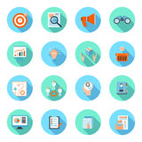 Marketers flat icons set. Marketer flat icons set with advertising effectiveness brand analytics product marketing isolated vector illustration Royalty Free Stock Photos