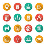 Marketers Flat Icons Set Stock Photos