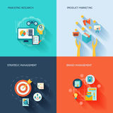 Marketers flat icons set. Marketer flat icons set with marketing research product strategic brand management isolated vector illustration Stock Image