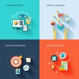 Marketers flat icons set Stock Image