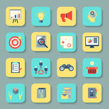Marketers flat icons set Royalty Free Stock Images