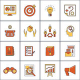 Marketers flat line icons set. Marketer finance money shopping marketing business search buying flat line icons set  vector illustration Stock Photography