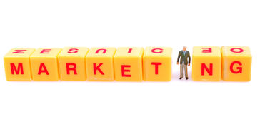 Marketing. Spelled out on yellow blocks Stock Photos