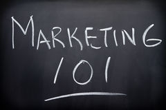 Marketing. 101 on blackboard or chalkboard Stock Photo